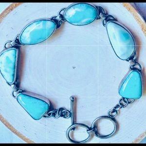 Vintage Larimar Sterling Silver .925 Link Bracelet